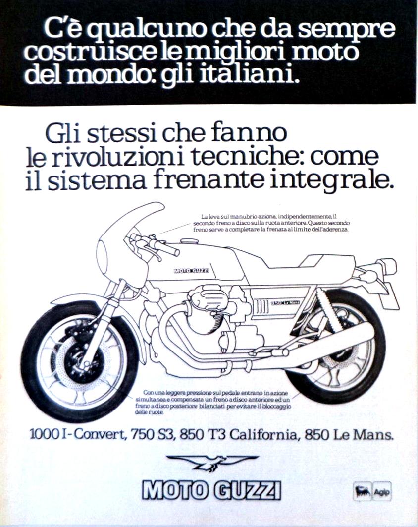 moto guzzi le mans pubblicità italia