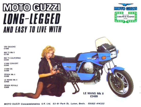 moto guzzi le mans advertising uk